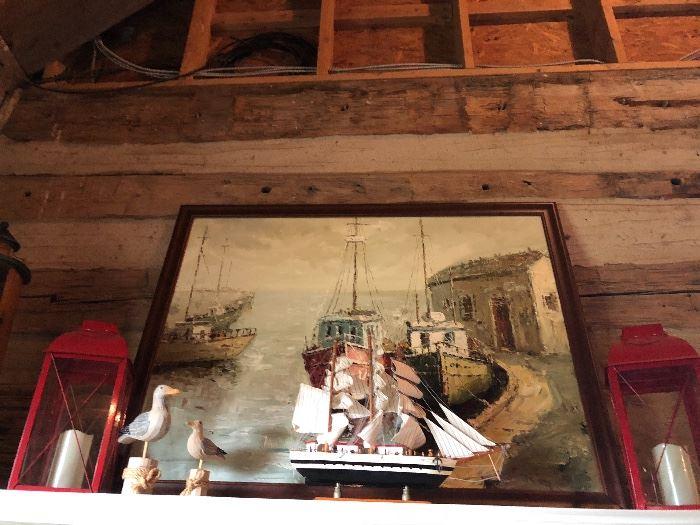 Nautical Original Oil Painting of Sailboats, Lanterns, Sailboat Model -Wooden Carved Birds