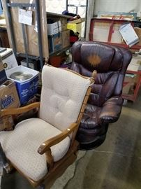 Leather chair and glider