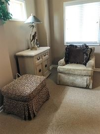 Chenille Chair, leopard ottoman, two large end tables, two  large gorgeous parrot lamps  Everything in pristine condition!
