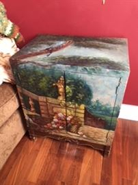 Hand Painted Storage End Table