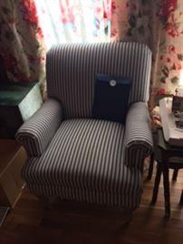 Denim Blue Stripe Living Room Chair