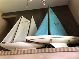 """Model Sailing Boats White Atlantis, is 70.4"""" tall x 55""""5"""" wide, Blue boat is 88"""" tall x 71"""" wide"""