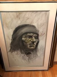 "Native American Art signed Jimmie Abeita, New Mexico artist dated 1947. Size is  35.5"" x 23.25"""