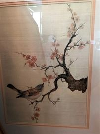 "Colussi Cherry Blossom With Bird Artist Proof Depicting a spring motif in the Asian taste, signed on the middle right, Colussi AP 10/50, 29"" H x 25.5"" W, sight and frame, 20th century. AP size is 16"" x 21"""