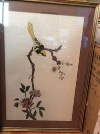 Blossom with Yellow Finch Depicting a spring motif in the Asian taste,
