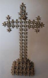 Tramp art crown of thorns cross