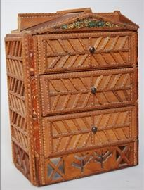 Small tramp art chest of drawers