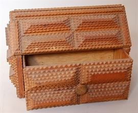 Tramp art box with drawer