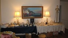 Fine crystal - art - Brass & Crystal Stiefel signed lamps.