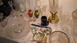 Rogers flatware, Murano vase set.