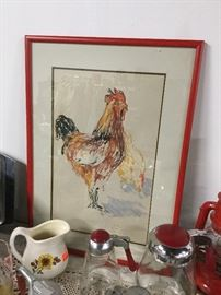 Rooster and hen original drawing