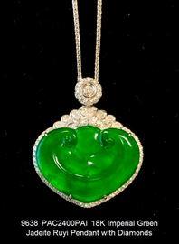 LOT 9638 Imperial Green Jadeite Ruyi Pendant with Diamonds
