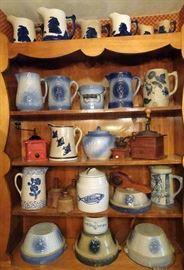 Blue & White Stoneware, Old Sleepy Eye Pottery, Primitives & Woodenware