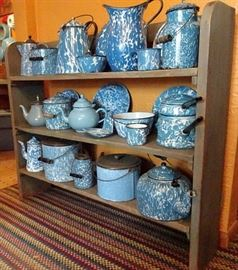 Collection of Blue & White Graniteware