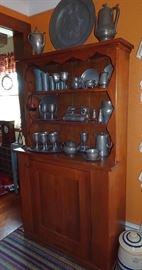 Walnut Open Top Pewter Cupboard, Early Pewter