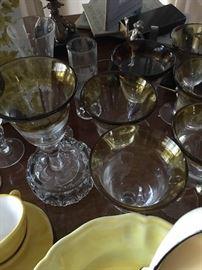 Cocktail glasses, wine glasses,