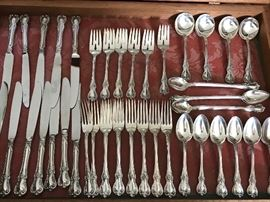 "sterling flatware set ""Old Masters"" by Towle, service for 12 plus serving pieces"