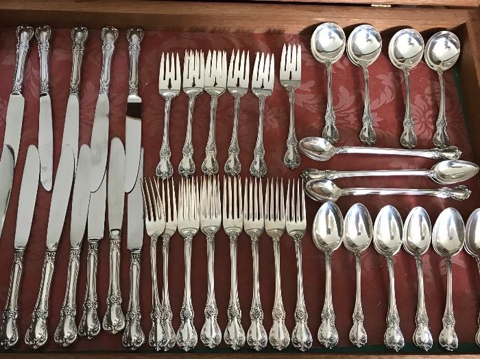 """sterling flatware set """"Old Masters"""" by Towle, service for 12 plus serving pieces"""