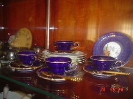 Cobalt and gold espresso set