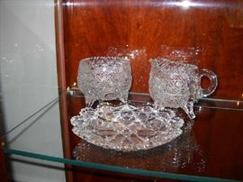 Lead crystal creamer and sugar with serving plate