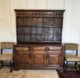 18th Century Welsh Cupboard and a Pair of 17th Century English Chairs