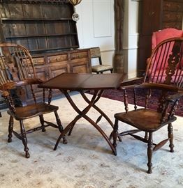 2 18th Century Windsor Arm Chairs and a Campaign Table