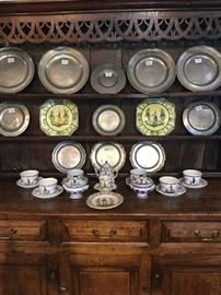 Quimper Items with Antique Pewter