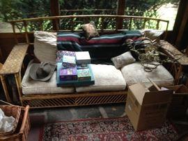 rattan style glider sofa