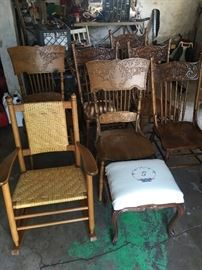 restored reed rocker and antique chairs, stool