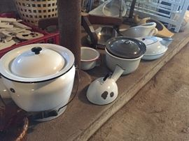 enamelware pots, bowls and urinals/bedpans collection