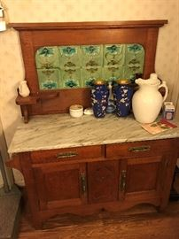 Antique Marble Top Cabinet $ 340.00