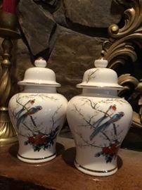 pair of cute bird ginger jars