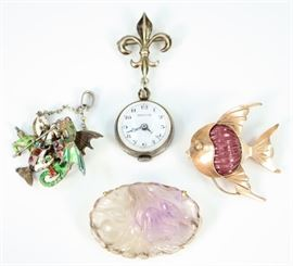 "Four Pieces of Ladies Jewelry - Including 1 14 kt yellow gold and rubellite tourmaline fish brooch, 1 14 kt yellow gold carved amethyst brooch, 1 Austro-Hungarian enameled and paste articulated pendant of George and the Dragon, and 1 Ladies Hudson Pendant watch with Sterling fleur-de-lis pin.  All are marked.  Wear to each, the articulated pendant is missing a portion of the chain, carved amethyst with some flakes.  Up to 2 1/2"" long overall.  Totaling 50.1 grams."