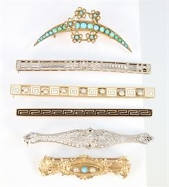 "A Group of Six 19th & Early 20th Century Bar Pins & Brooches - Including 4 14 kt yellow and white gold bar pins, of various designs including filigree, enamel, seed pearls, and turquoise, all marked, together with 1 Victorian 14 kt yellow gold, seed pearl, and turquoise brooch, stamped ""14K"", and 1 Victorian crescent shaped brooch with floriform accents, decorated with turquoise and seed pearls, unmarked.  Minor wear overall, the crescent brooch has one seed pearl missing, the other Victorian brooch is slightly misshapen at the sides.  Up to 2 5/8"" long.  Totaling 26.0 grams."