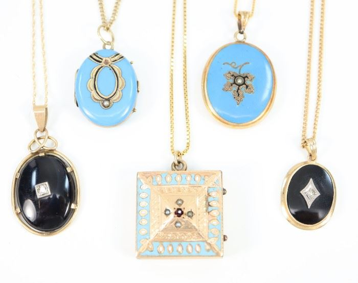 "Three 19th Century Lockets & Two Pendants - Including 2 oval robin's egg blue enamel lockets, 1 square locket with enamel decoration, and 2 oval onyx pendants.  Four chains are stamped ""14K"" and the other is ""12K G-F""; the bail on the onyx pendant is stamped ""10K"" .  Wear overall, losses/chips to the enamel, one blue locket is missing a seed pearl.  Up to 10 3/4"" long.  Totaling 31.9 grams."