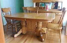 Amish Made Dining set with  lighted Hutch