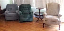 beige recliner available accent table avail 2 others SOLD