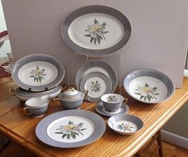 vintage fine china. beautiful gray rim. more than 6 complete place settings with serving pieces.