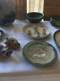 (1) McCarty Raccoon $125 pair (2) Vintage McCarty Plate $175.00  NOTE: Previously incorrectly  priced in picture  (3) McCarty white candle plate $150.00  (4) Vintage McCarty green bowl $175.00