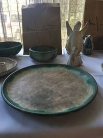 McCarty Nutmeg Platter with Jade rim $195.00  (2) McCarty angel $75.00