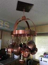 Hanging brassware (VERY NICE ensemble)