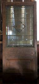 Stained Glass Mahogany Door and Matching Transom