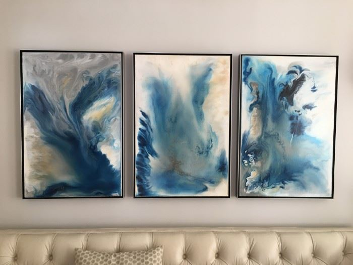"""""""Sea of Storms 1_2_3"""" (triptych)  -Isabella Innis, 2016   24 x 36 eaAcrylic"""