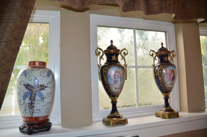 French Cobalt blue ORMOLU hand painted porcelain & Chinese Qing Dynasty Cloisonné pieces