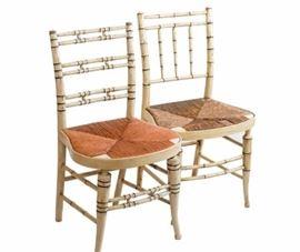 5EK Regency Near Pair Faux Bamboo Chairs