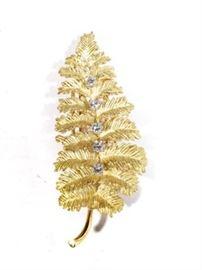 532EK Tiffany & Co. Gold and Diamond Fern Leaf Dress Pin