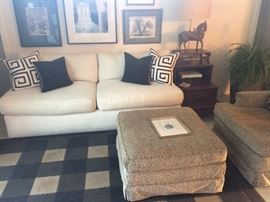 A. Rudin day bed with Gump stuffed chair and ottoman