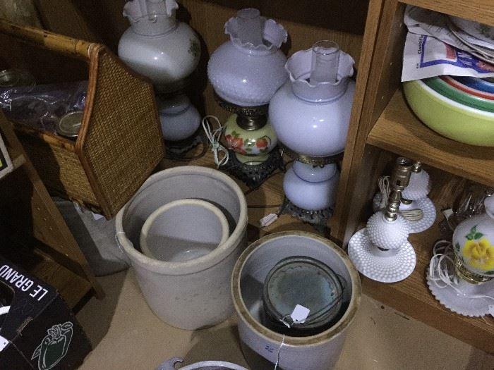 Crocks, Lamps, Pyrex