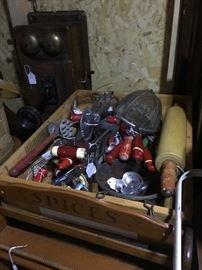 Numerous Red Handled Kitchen Utensils