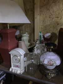 Clocks, lamps, Ceramic Christmas Tree, Pitcher & bowl sets,